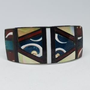 Vintage Shell Stone Inlay Tribal Cuff Bracelet